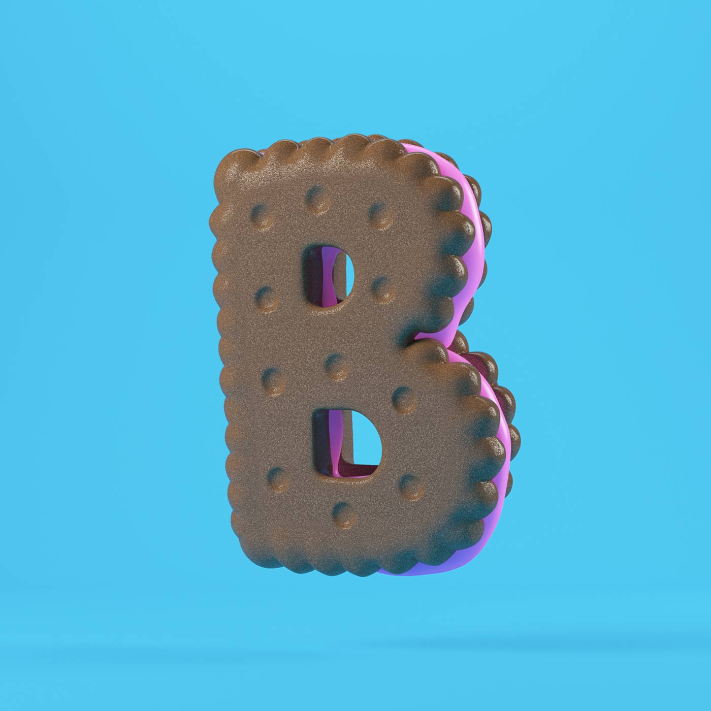 FOOD 3DFOOD FOODALPHABET CESS 3D 3DTYPE LETTERING CGI 3DARTIST COOKIE