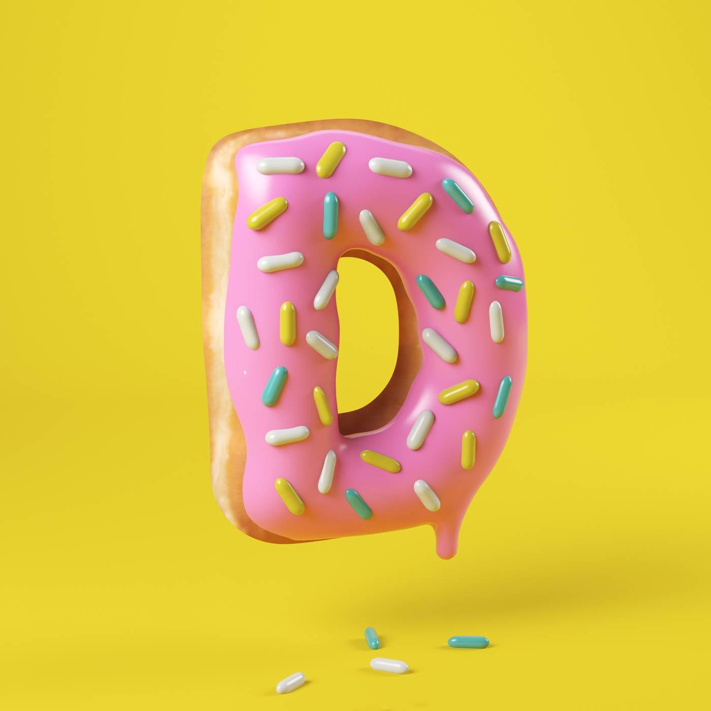 FOOD 3DFOOD FOODALPHABET CESS 3D 3DTYPE LETTERING CGI 3DARTIST DONUT