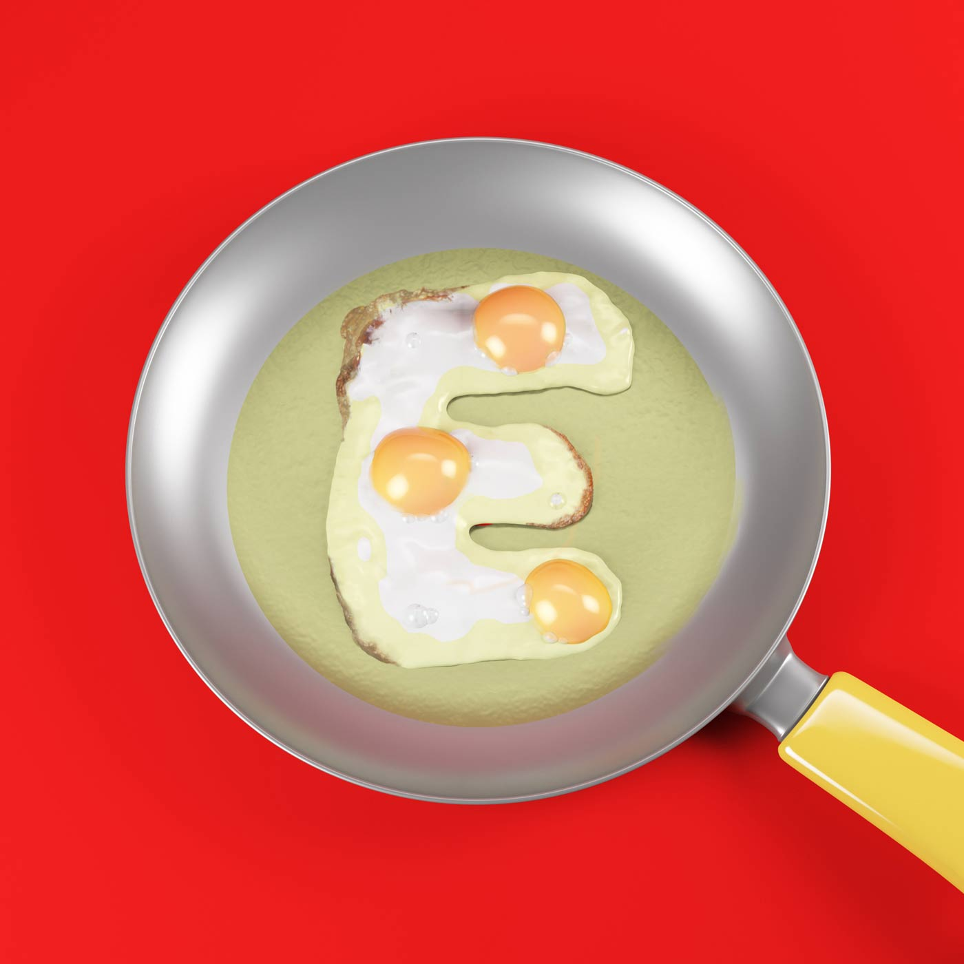 FOOD 3DFOOD FOODALPHABET CESS 3D 3DTYPE LETTERING CGI 3DARTIST EGG