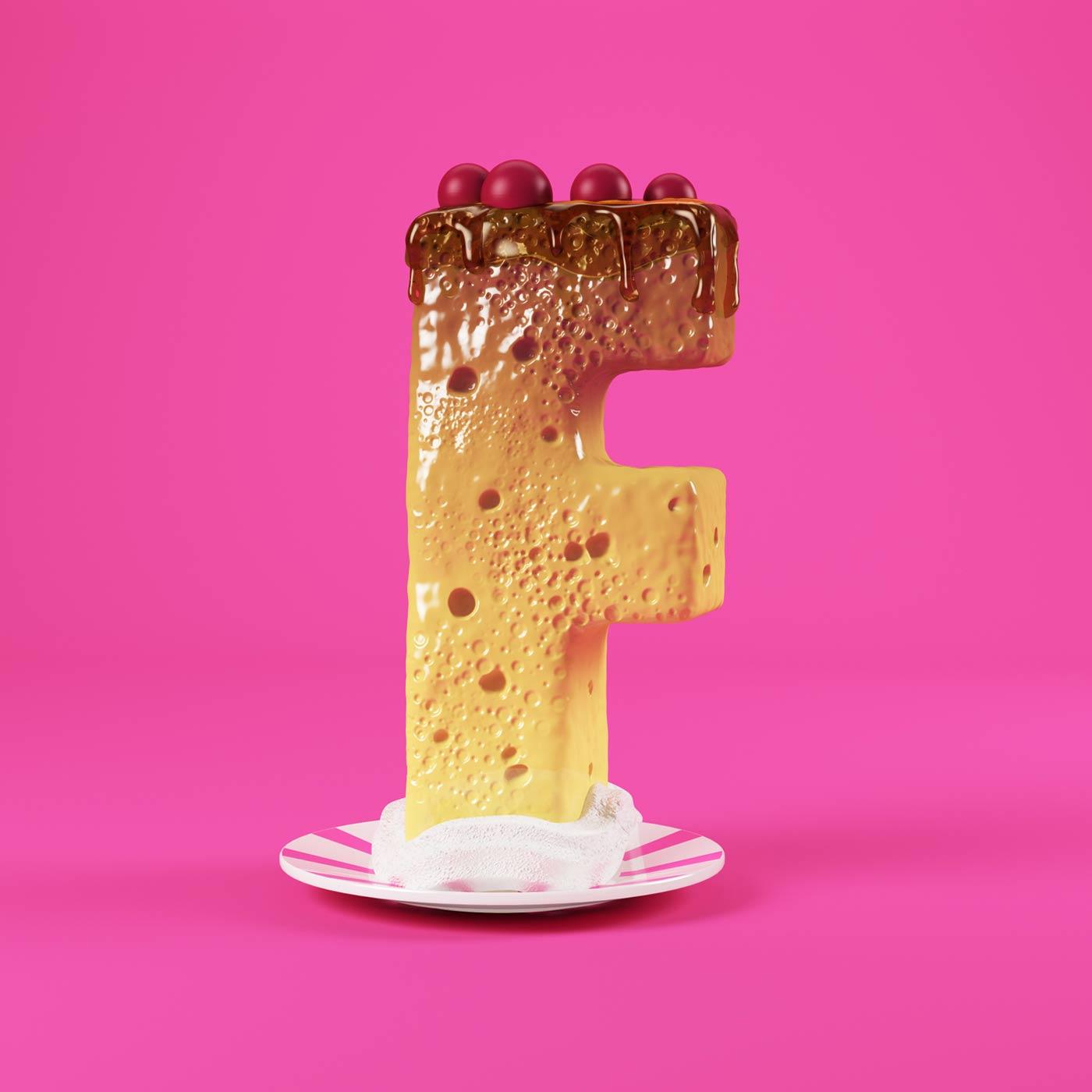 FOOD 3DFOOD FOODALPHABET CESS 3D 3DTYPE LETTERING CGI 3DARTIST DESSERT
