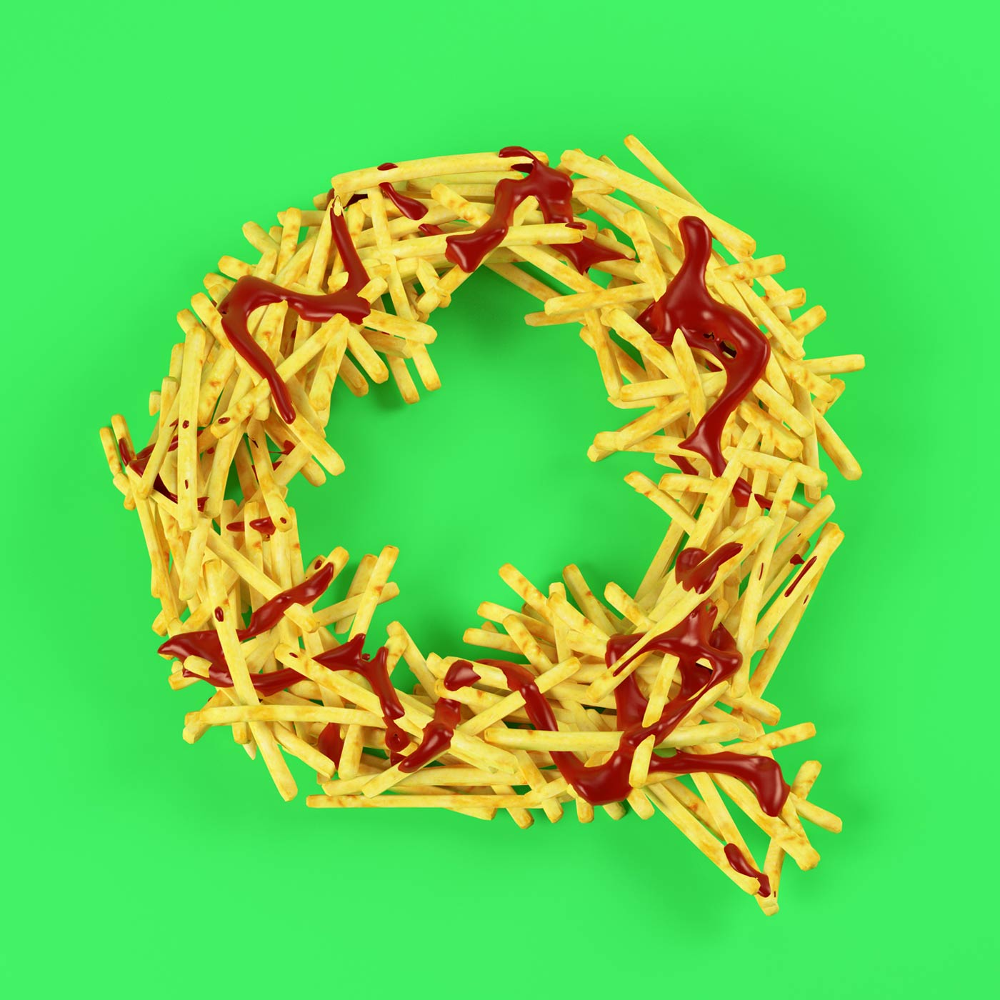 FOOD 3DFOOD FOODALPHABET CESS 3D 3DTYPE LETTERING CGI 3DARTIST FRIES