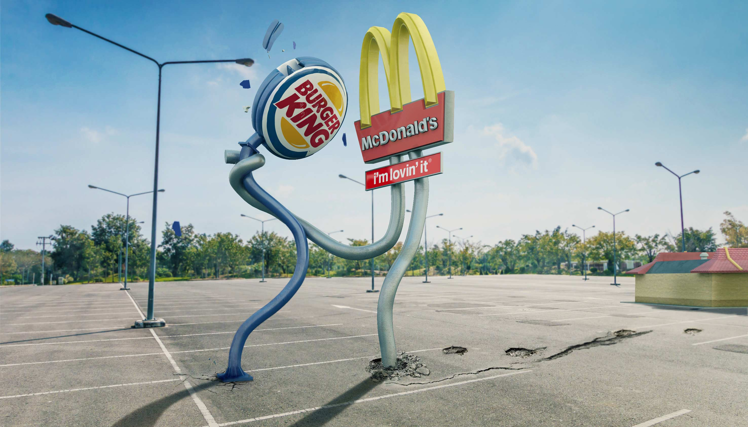 ADVERTISING CESS 3D 3DTYPE LETTERING CGI MCDONALDS BURGERKING VERSUS 3DILLUSTRATION PHOTOMANIPULATION