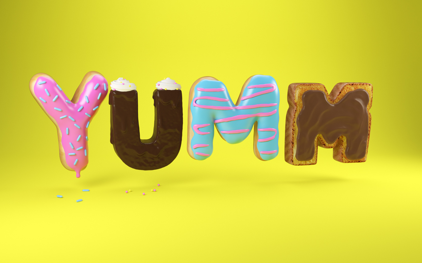 3D DONUTS LETTERING CREHANA TYPE CESS FOOD