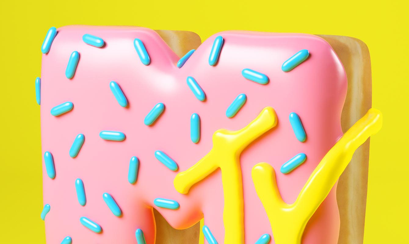 MTV DONUT MTVLOGO CESS 3D LETTERING CGI 3DARTIST