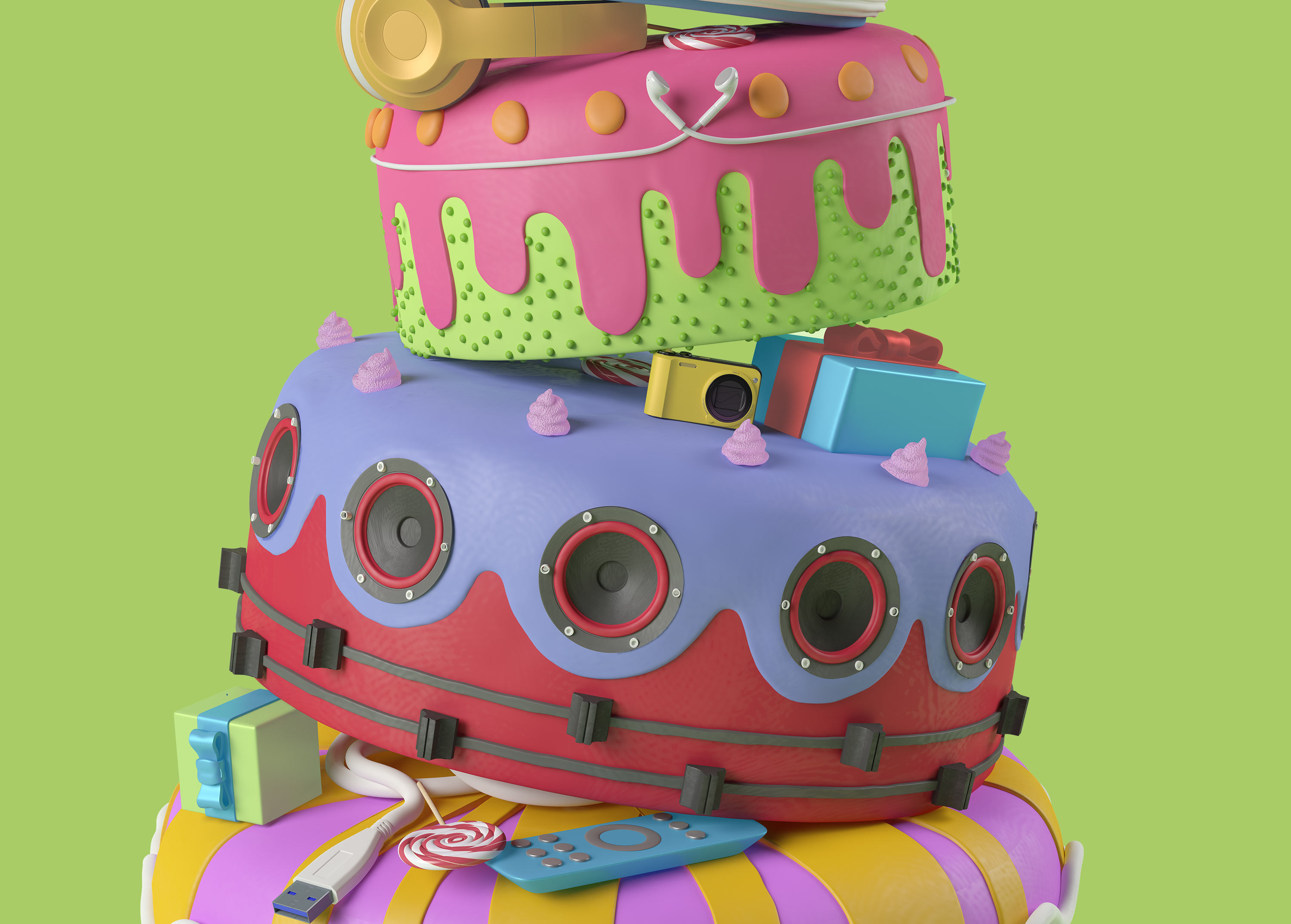 3D ILLUSTRATION CAKE CESS CGI