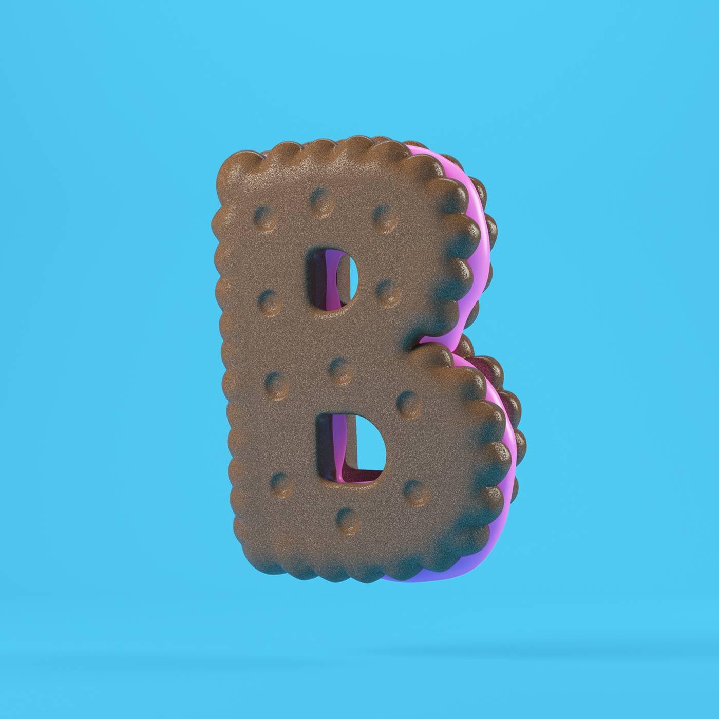 FOOD 3DFOOD FOODALPHABET CESS 3D 3DTYPE LETTERING CGI 3DARTIST COOKIE