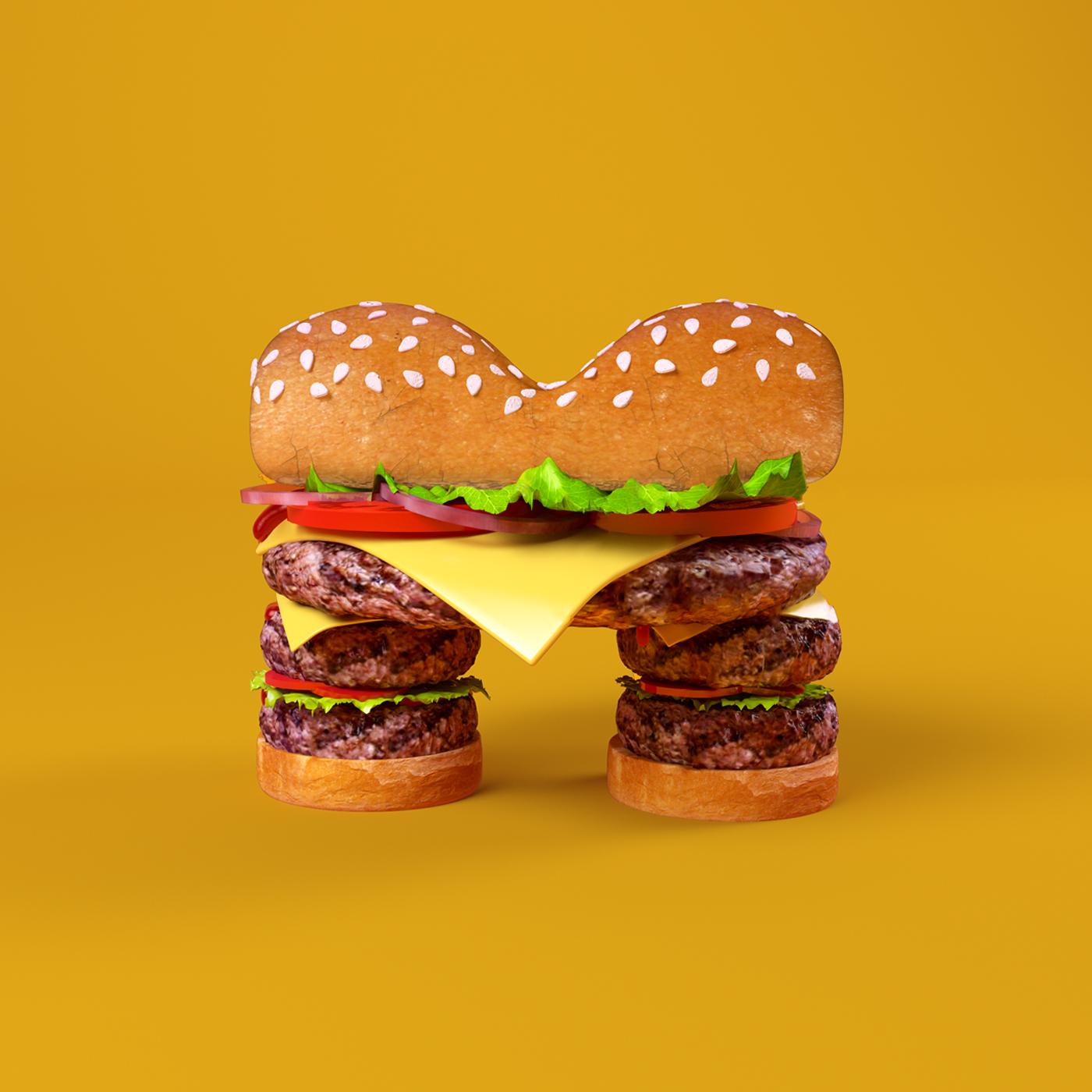 FOOD 3DFOOD FOODALPHABET CESS 3D 3DTYPE LETTERING CGI 3DARTIST BURGER