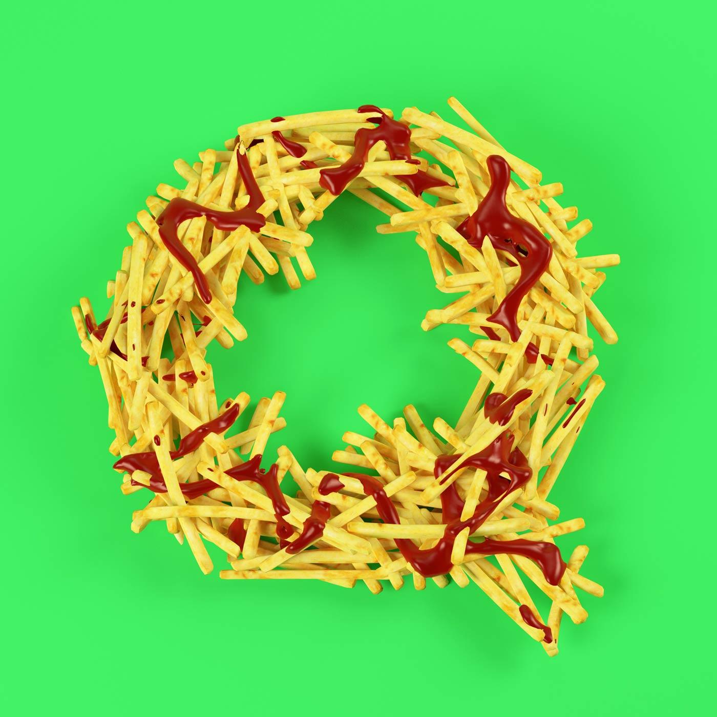 FOOD 3DFOOD FOODALPHABET CESS 3D 3DTYPE LETTERING CGI 3DARTIST FRIES