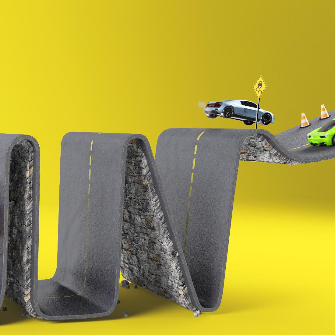 3DLETTERING CESS 3D 3DTYPE LETTERING CGI 3DARTIST ROAD CITY CAR