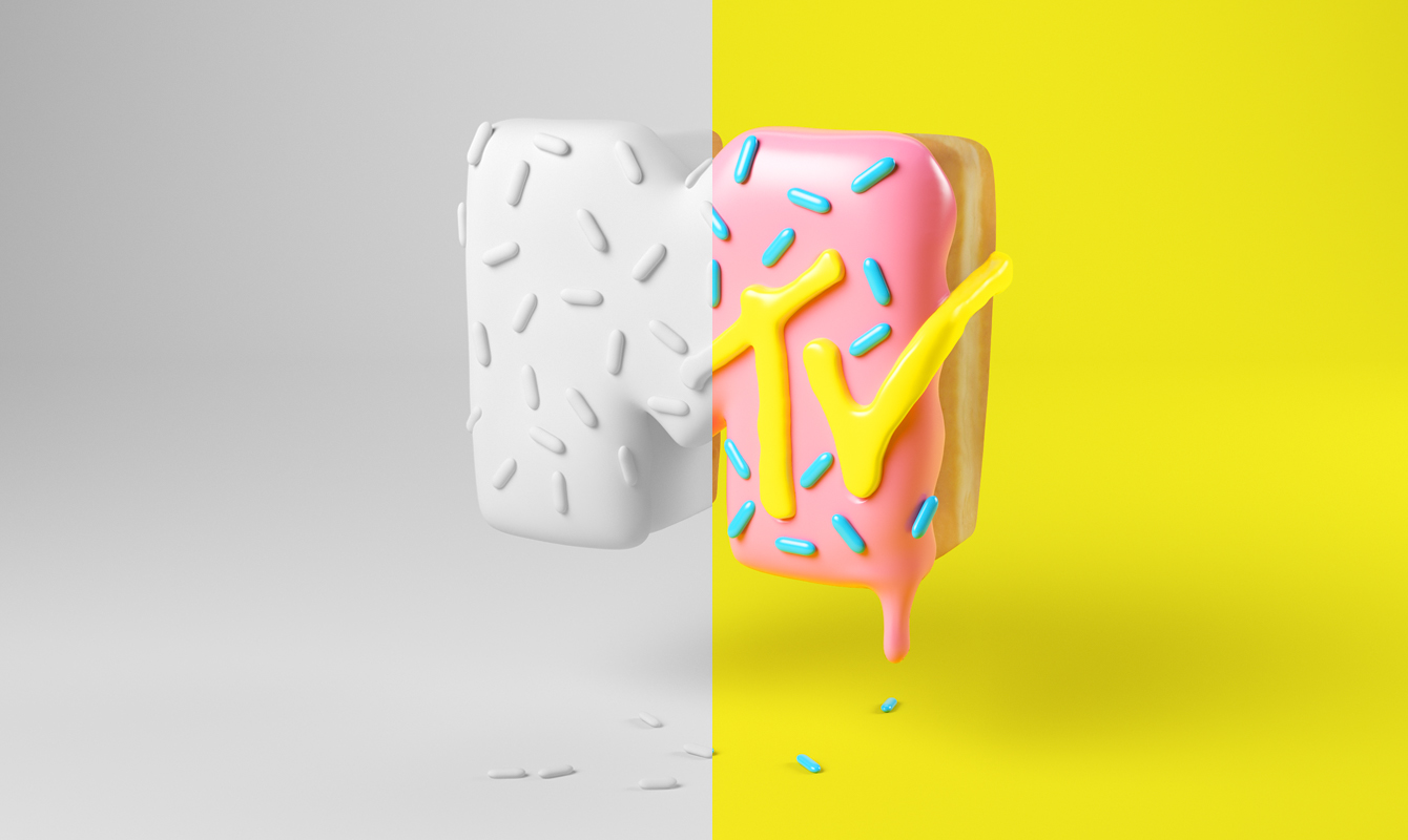 MTV DONUT PHOTOSHOP CESS 3D LETTERING CGI 3DARTIST